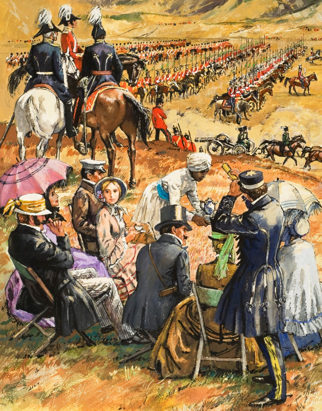 Leo Davy, Eine Picknick-Party über dem Schauplatz einer bevorstehenden Schlacht während des Krimkriegs, 1971, Gouache auf Papier, Illustration in der Zeitschrift Look and Learn, Nr. 491, S. 5,